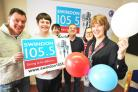 Shirley Ludford is celebrating nine years of Swindon 105.5.Pictured Russ Riggs , Daniel Woodward , Dan Cousins , Gary Law , Ruth Hillier , Shirley Ludford.Picture: Dave Cox