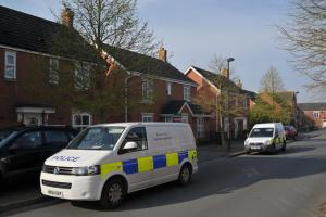 Forensic police at Thresher Drive, Groundwell, today. Picture by Dave Cox