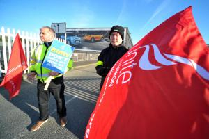 BMW workers Nico Albanese and Alastair Hedge on strike last week. Picture by Dave Cox