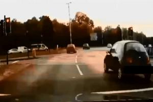 Dashcam footage released by police shows a Ford Ka being driven through red lights on Thamesdown Drive