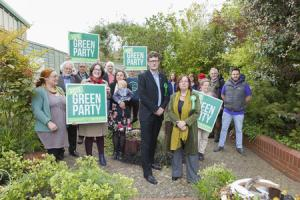 The Green Party faithful get behind Andy Bentley & Talis Kimberley-Fairbourn at the launch of their Swindon campaign. Picture: Nicola Salt