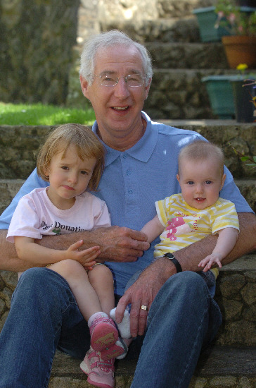 Ron, Carter, who has had a heart transplant, with his grandchildren Millie, left, and Amber
