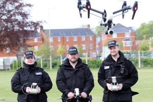 James Coutts, Rachel Oaten and Dan England at the launch of the pilot Unmanned Aviation Support Group