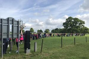 Long queues at Lydiard Park on Sunday