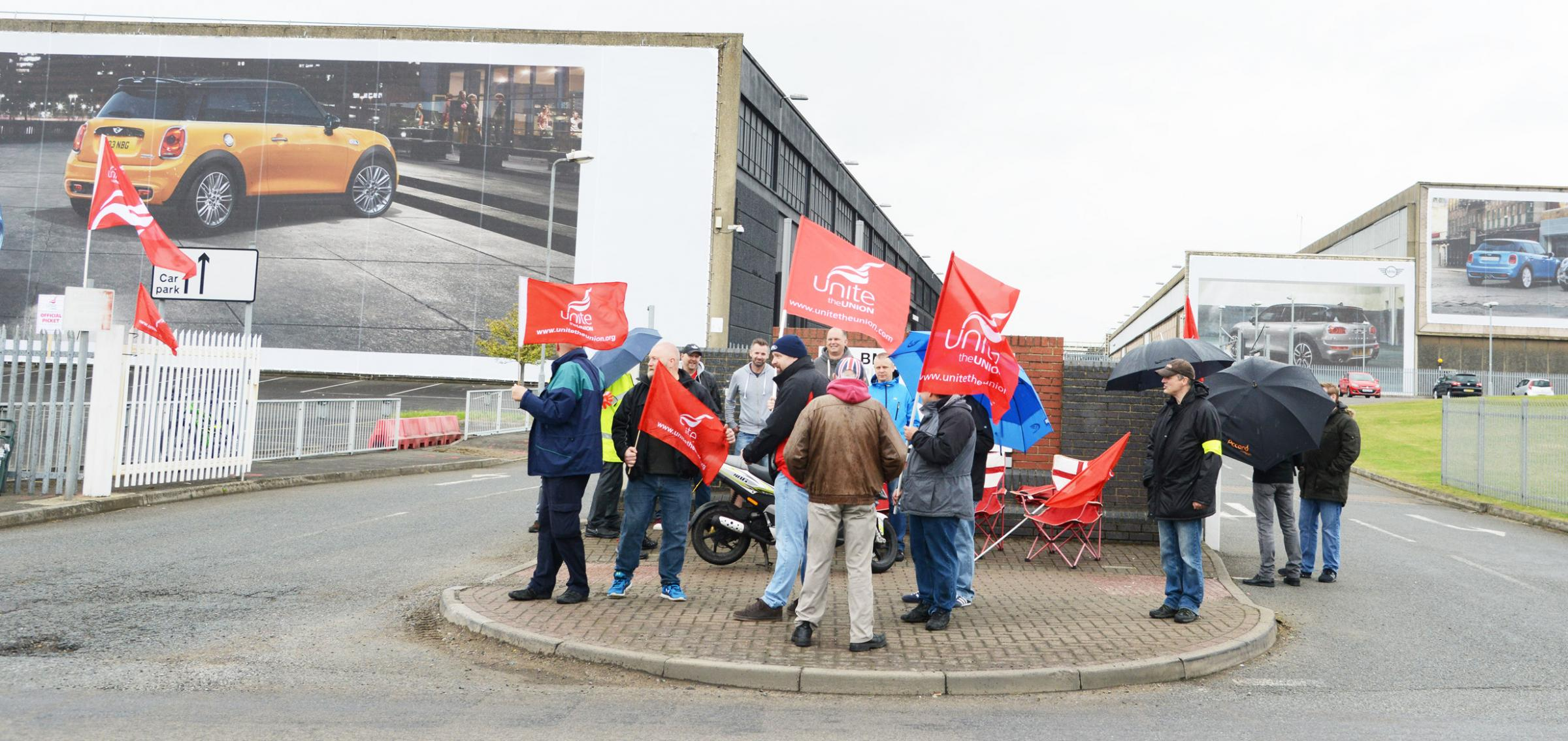 BMW workers striking outside the Swindon plant earlier this year. Picture by Dave Cox