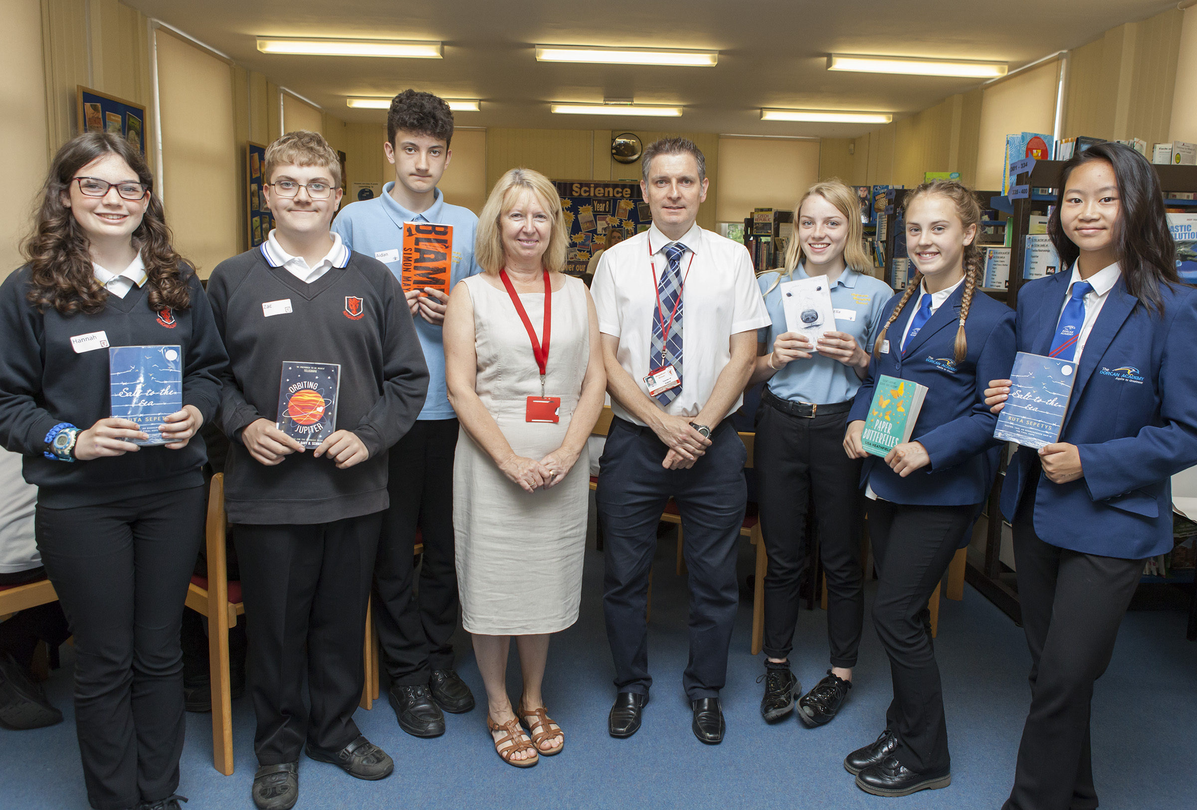 Riveting Readathon at Kingsdown School.Pictured: Hannah Cooper, Zac Fairbrother (Kingsdown), Aidan Tucker (Highworth Warneford), Lin Curtis (Learning Resource Centre Manager), Robin Cook (Teacher of English), Ella Claxton-Fry (Highworth Warneford), Charlo