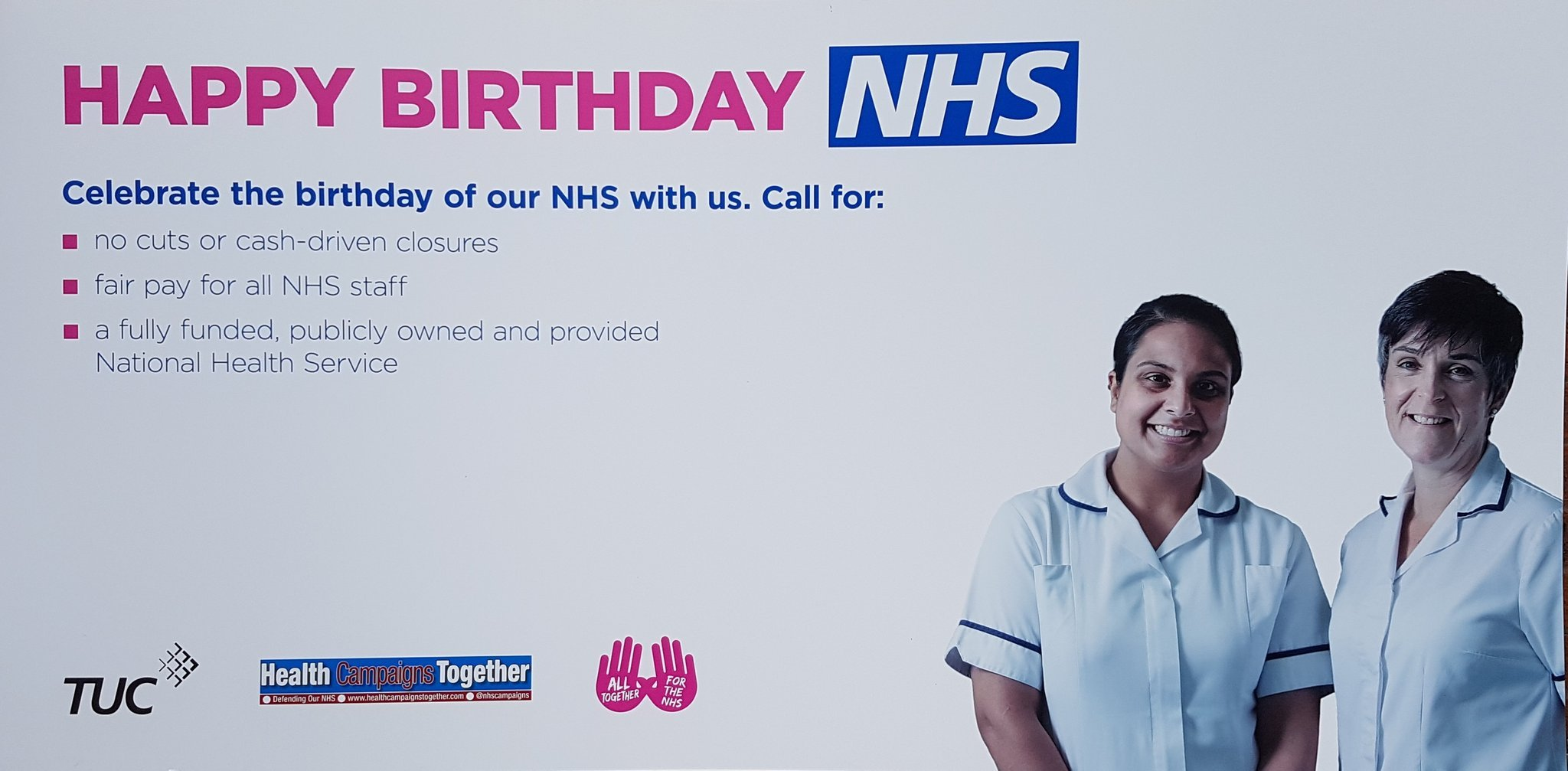 The 'birthday card' that campaigners plan to bring to the party on Wednesday.
