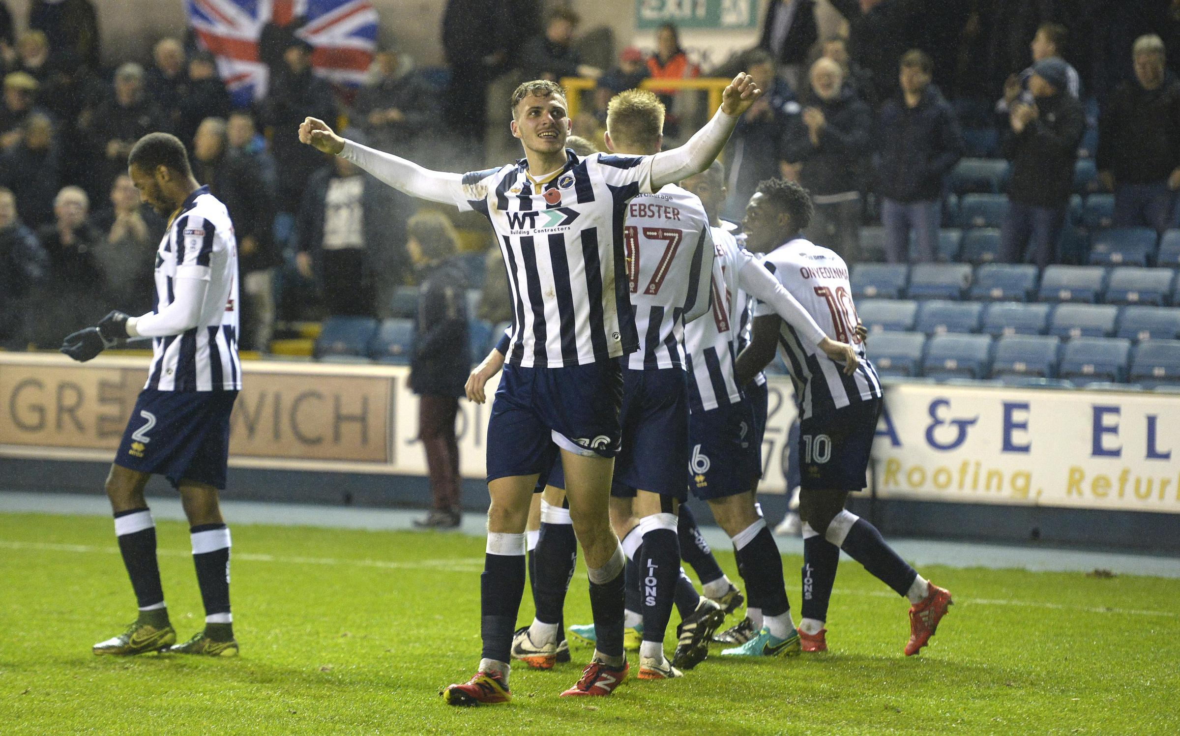 Harry Smith celebrates scoring for Millwall Picture: MILLWALL FOOTBALL CLUB
