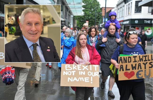 An anti-Brexit protest that took place last year and, inset, Ian Larrard.