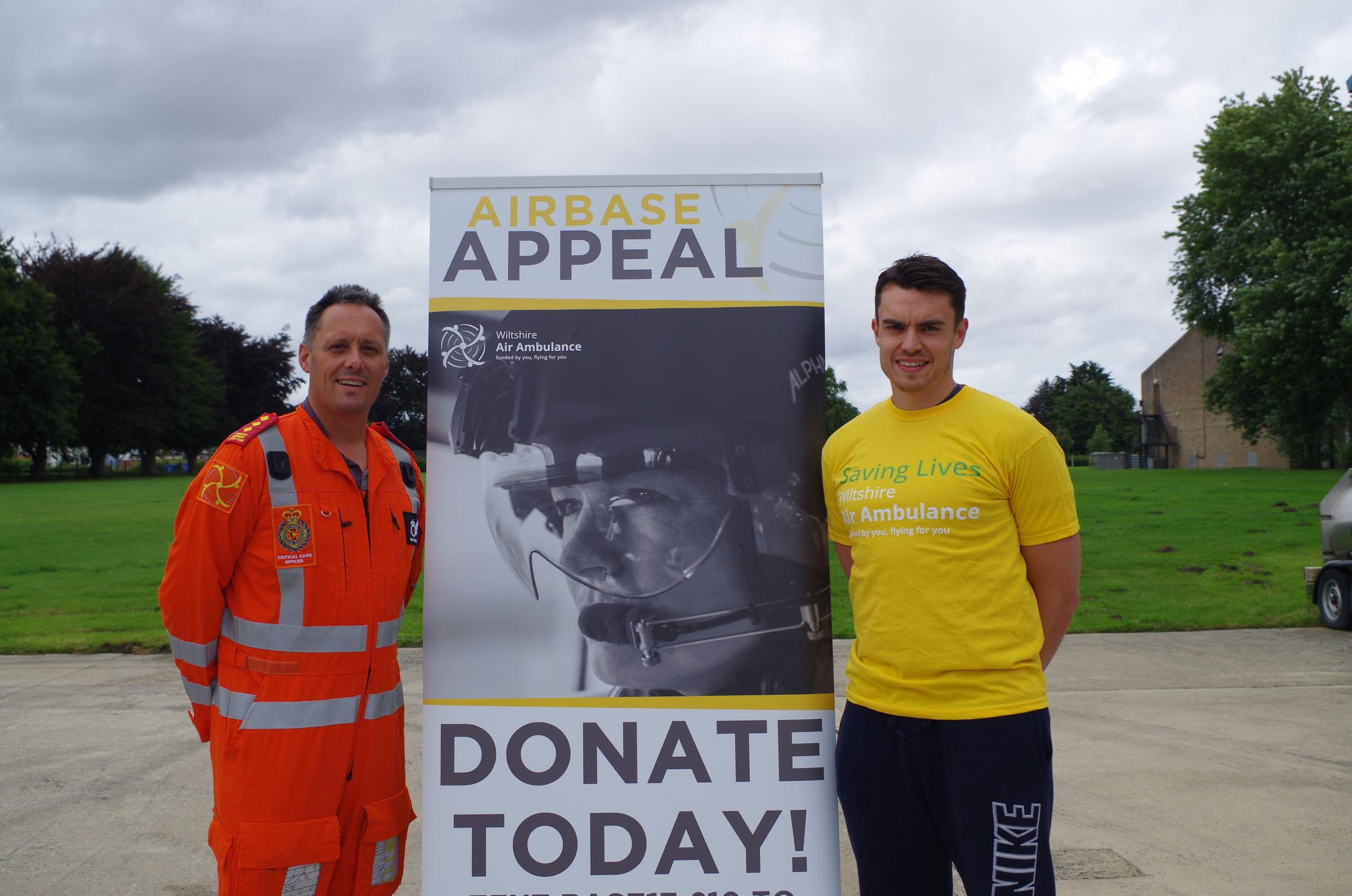 Richard Miller, a Wiltshire Air Ambulance critical care paramedic, with Matt Swift, who is taking part in the New Swindon Half Marathon for the WAA Airbase Appeal