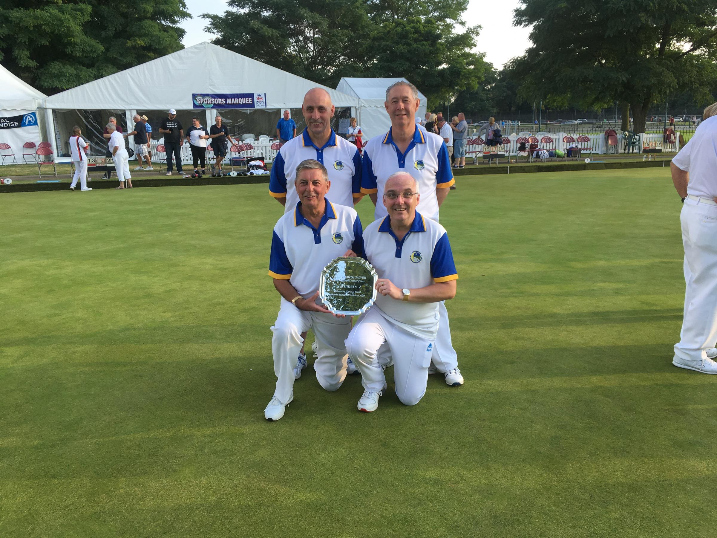 Royal Wootton Bassett, back (l-r) Barry Sictorness and Mel Biggs; Front: Terry Walton and Chris Cheesley with the new national senior fours trophy