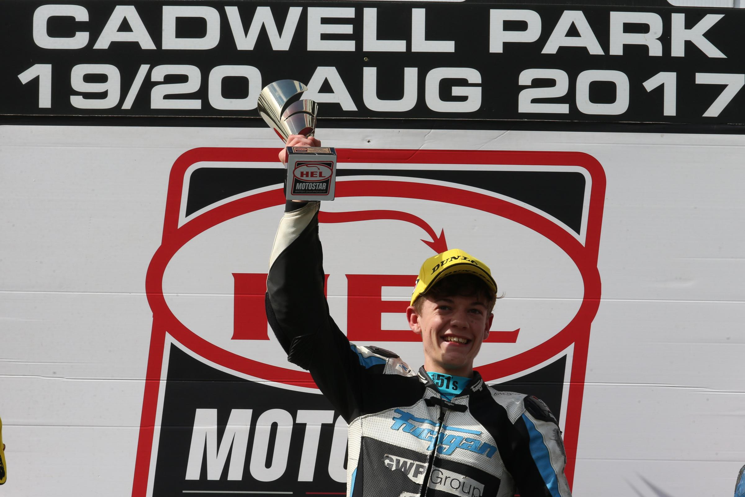 N Max Cook celebrates at Cadwell Park. PICTURE: BONNIE LANE