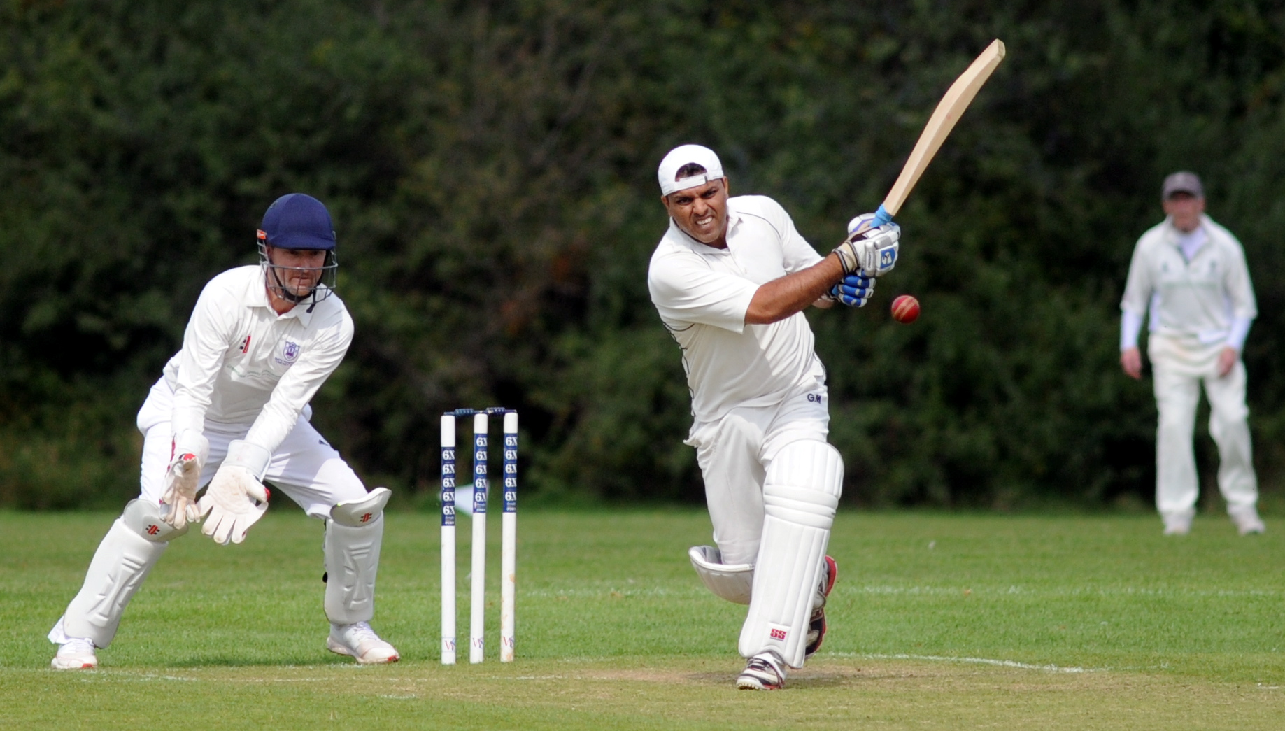 Swindon Nalgo batsman Prashant Joshi goes on the attack against Bath Hospitals in their Division Two clash