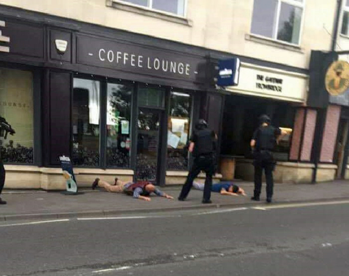 The scene during the armed police operation at She's coffee lounge