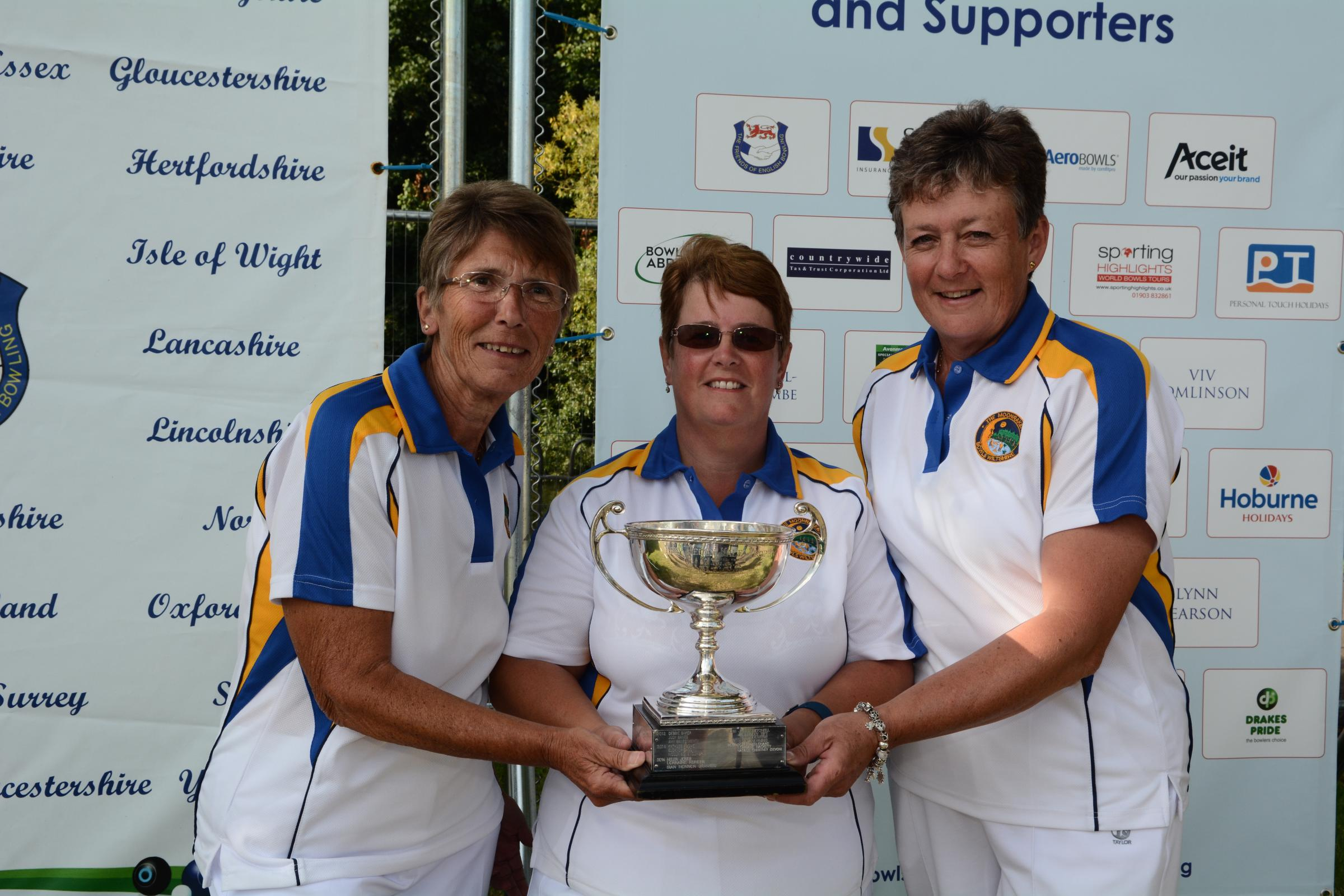 Alison Fail (right, with Purton teammates Chris Mitchell and Julie Jones after their national triples win last month