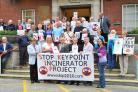 Campaigners opposed to the new waste disposal plant at South Marston. Picture by Dave Cox