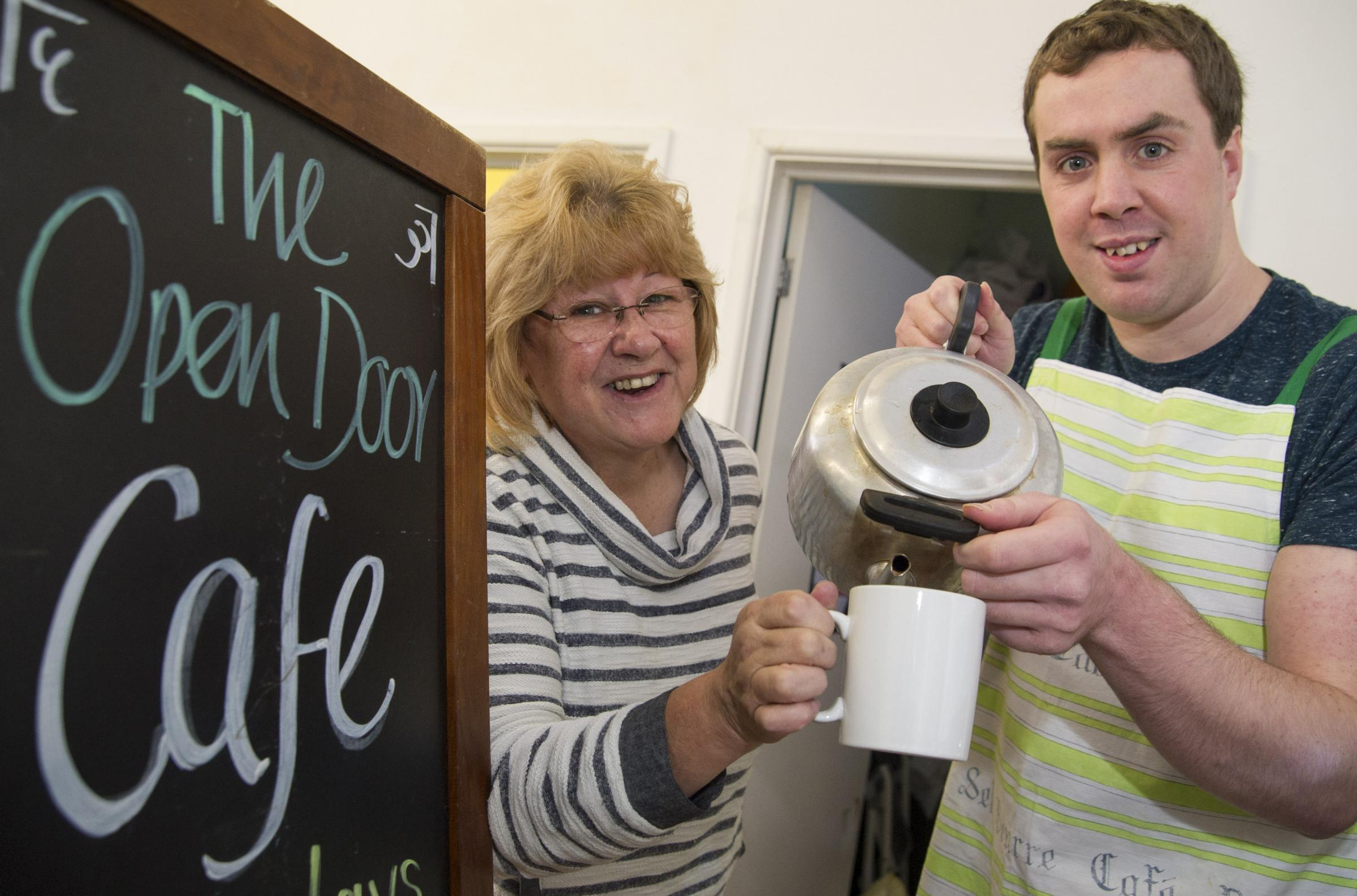 The Open Door centre has been awarded £840 by the Gannett Foundation to fund training for learning disabled members who run the Friday Cafe  Pat Winning ( manager) , Matthew White. Picture by Dave C