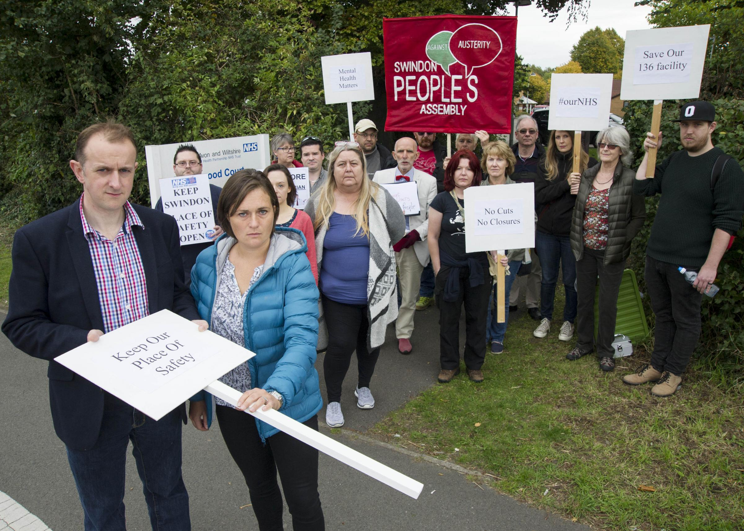 Mark Dempsey and Sarah Church with place of safety campaigners outside Sandalwood Court last year. Picture: DAVE COX
