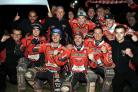 Swindon Robins celebrate winning the SGB Premiership on Wednesday night