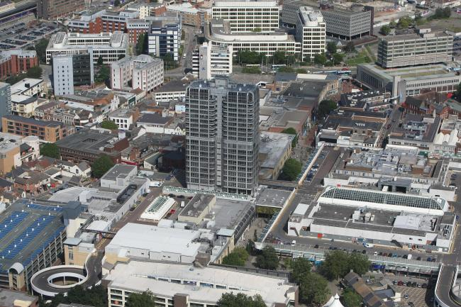 Stuart Harrison 6/9/12.Aerial pictures of Swindon. Swindon Town Centre with DMJ Tower pictured centre..