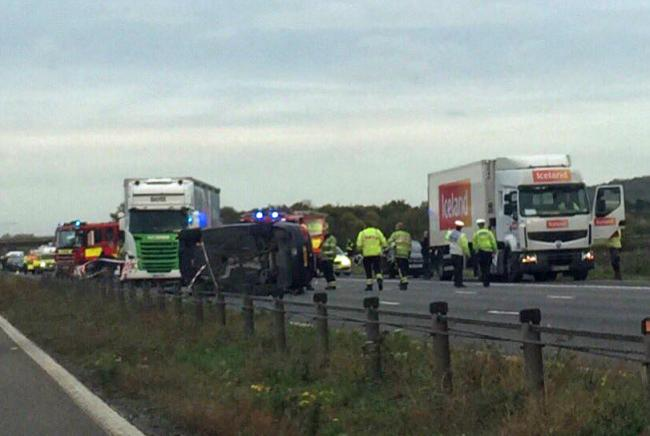 The crash scene on the M4 westbound yesterday afternoon. Picture: @Dawstopper