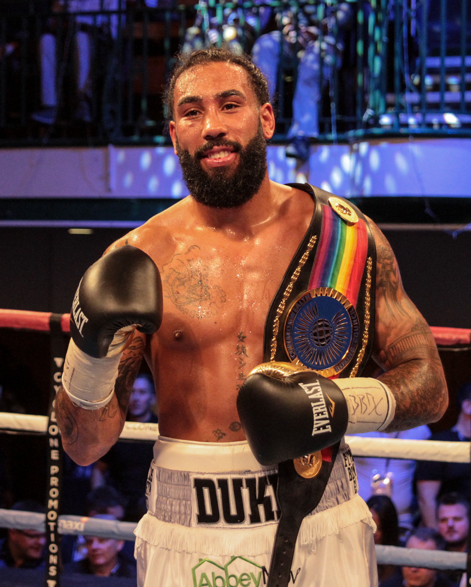 Luke Watkins celebrates his Commonwealth cruiserweight title win earlier this month (Picture: NAOMI YOUD)