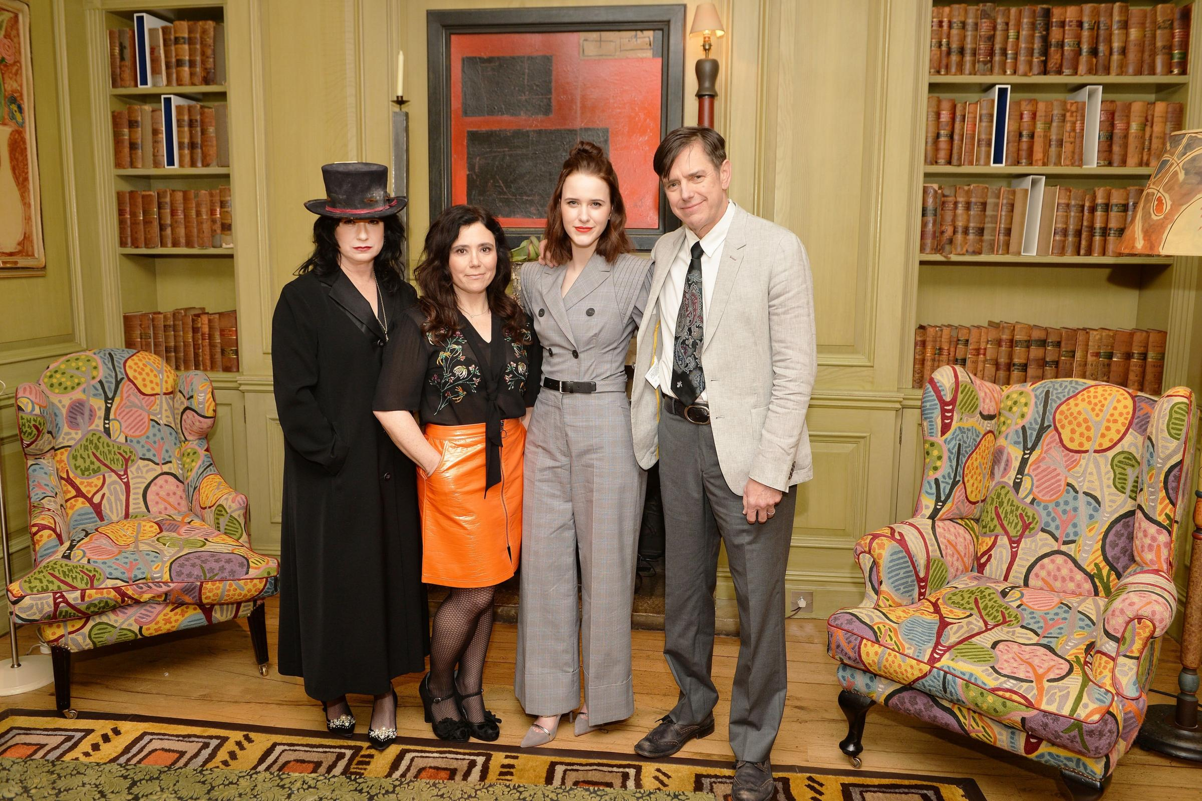 Amy Sherman-Palladino (left) and Daniel Palladino with cast members Alex Borstein and Rachel Brosnahan (second right) as they attend the London screening of The Marvellous Mrs Maisel (John Stillwel/PA)