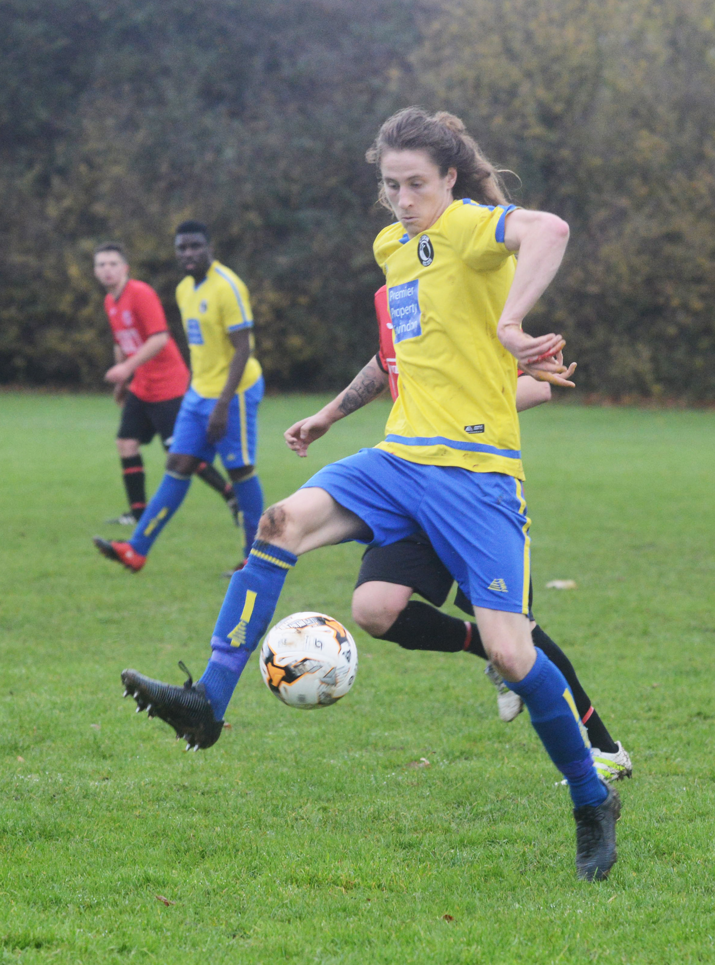 FC Dorcan's hat-trick hero George Bouverie-Brine controls the ball during their match with Highworth Town Development 	 PictureTHOMAS KELSEY