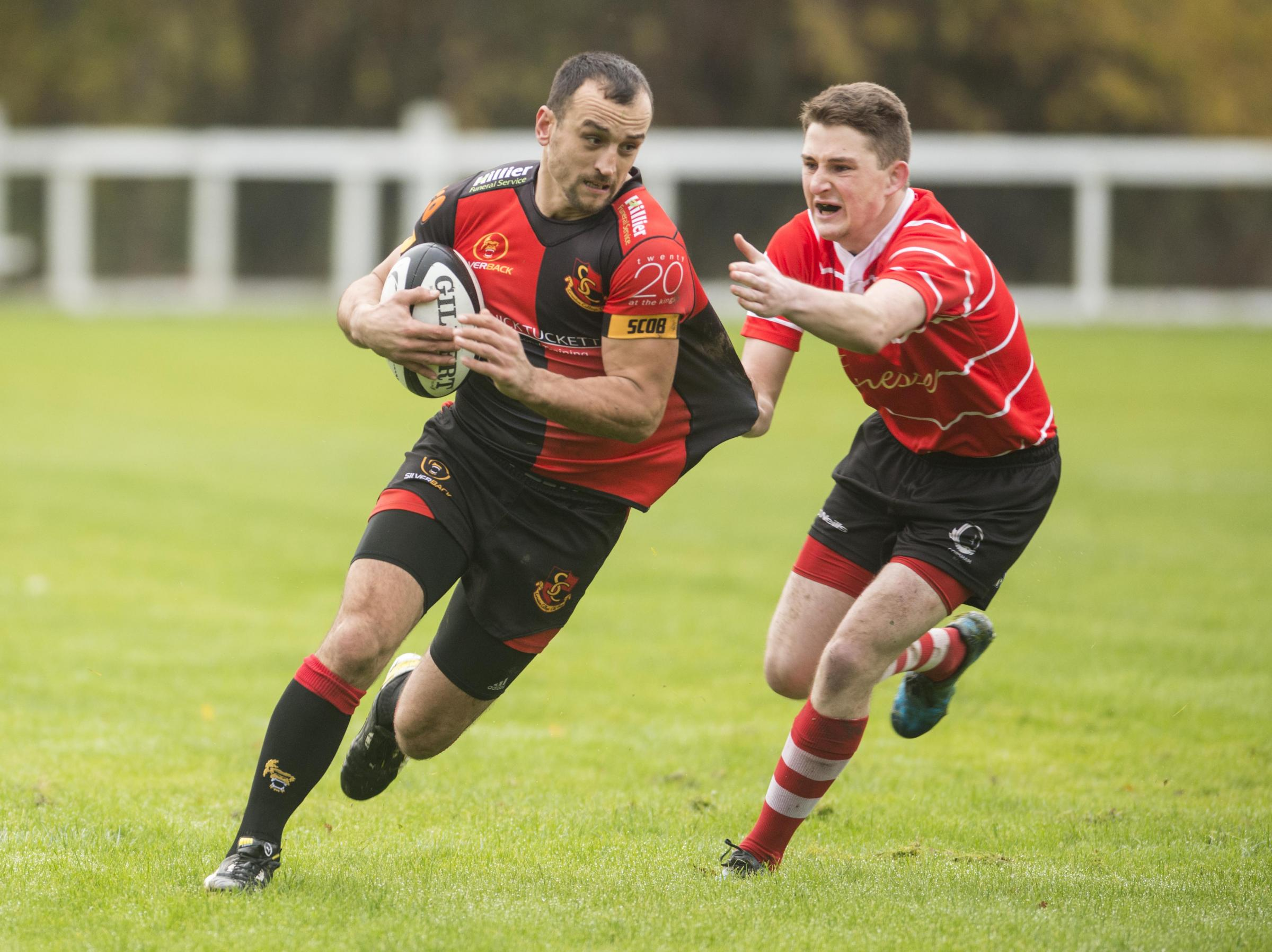 Florin Palcau powers over for Swindon College Old Boys' final try in their impressive 26-5 win over Corsham on Saturday