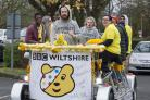 BBC Children in Need pedal bus at Swindon college..Pic - gv.Date 14/11/17.Pic by Dave Cox.