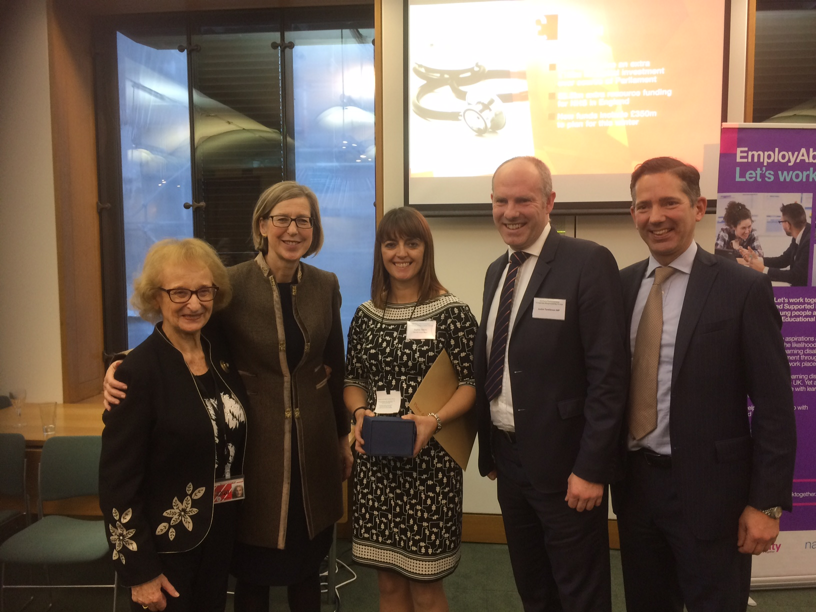 Baroness Greengross (Joint Chair of the All Party Group for corporate responsibility), Minister for Disabled People Sarah Newton MP, Sophie Spink, Head of Media Relations Zurich, Justin Tomlinson MP and Jonathan Djanogly MP