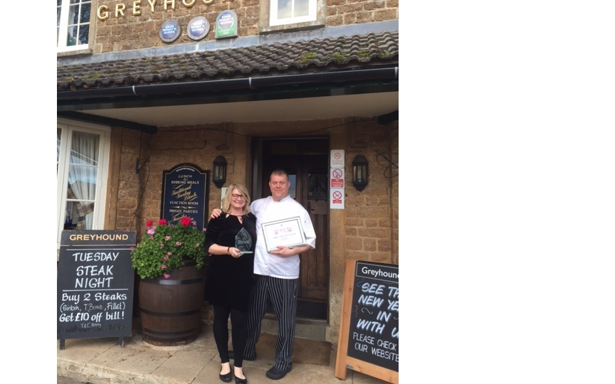 Tara and Danny Adams outside The Greyhound, Bromham