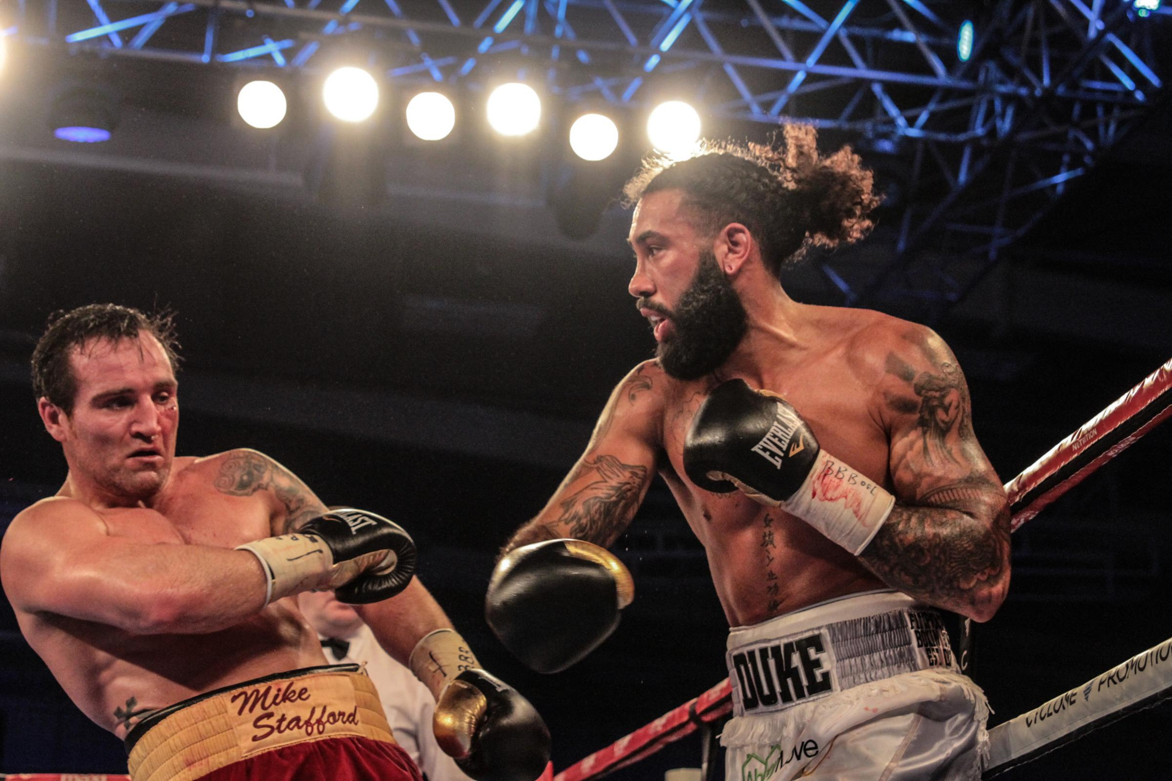 Luke Watkins (right) in action during his recent win over Mike Stafford. PICTURE: NAOMI YOUD