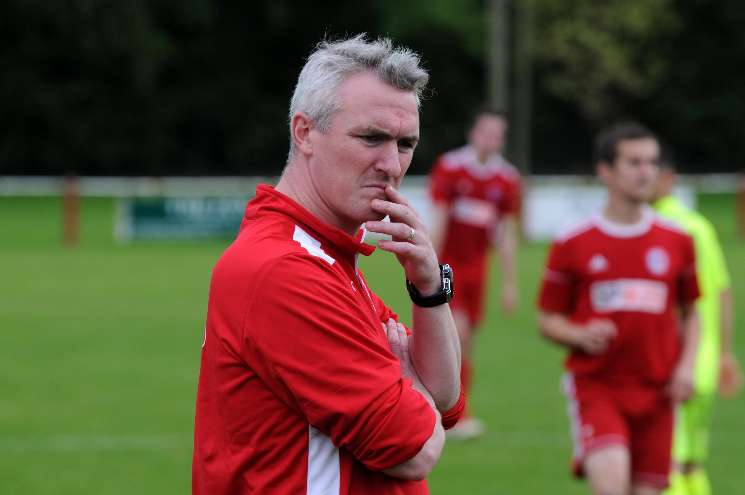 Fairford FC (red) v Binfield (yellow) Pic shows Fairford boss Jody Bevan.