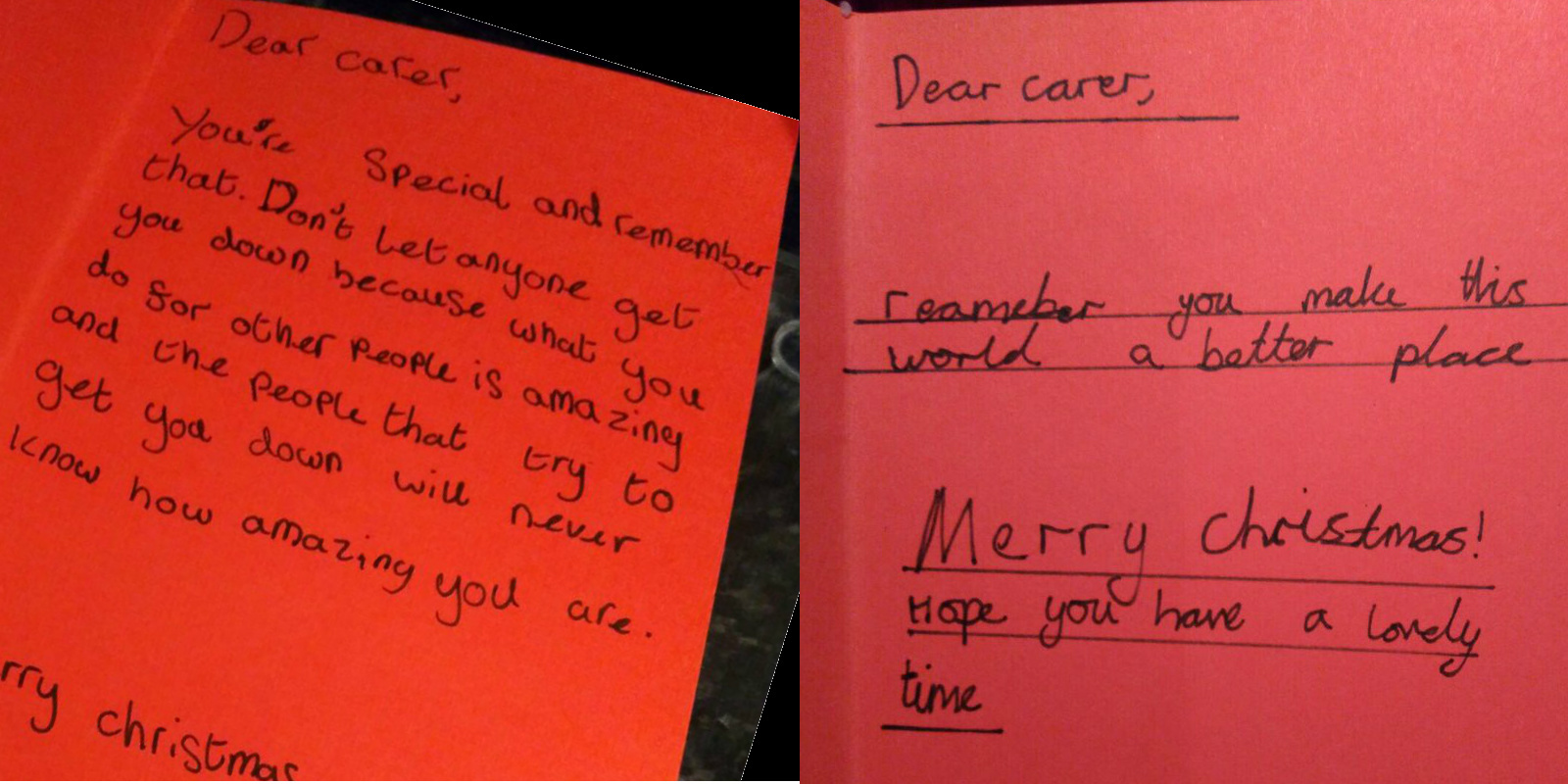 Letters written by Covingham Park pupils to the carers. Picture: SWINDON CARERS CENTRE