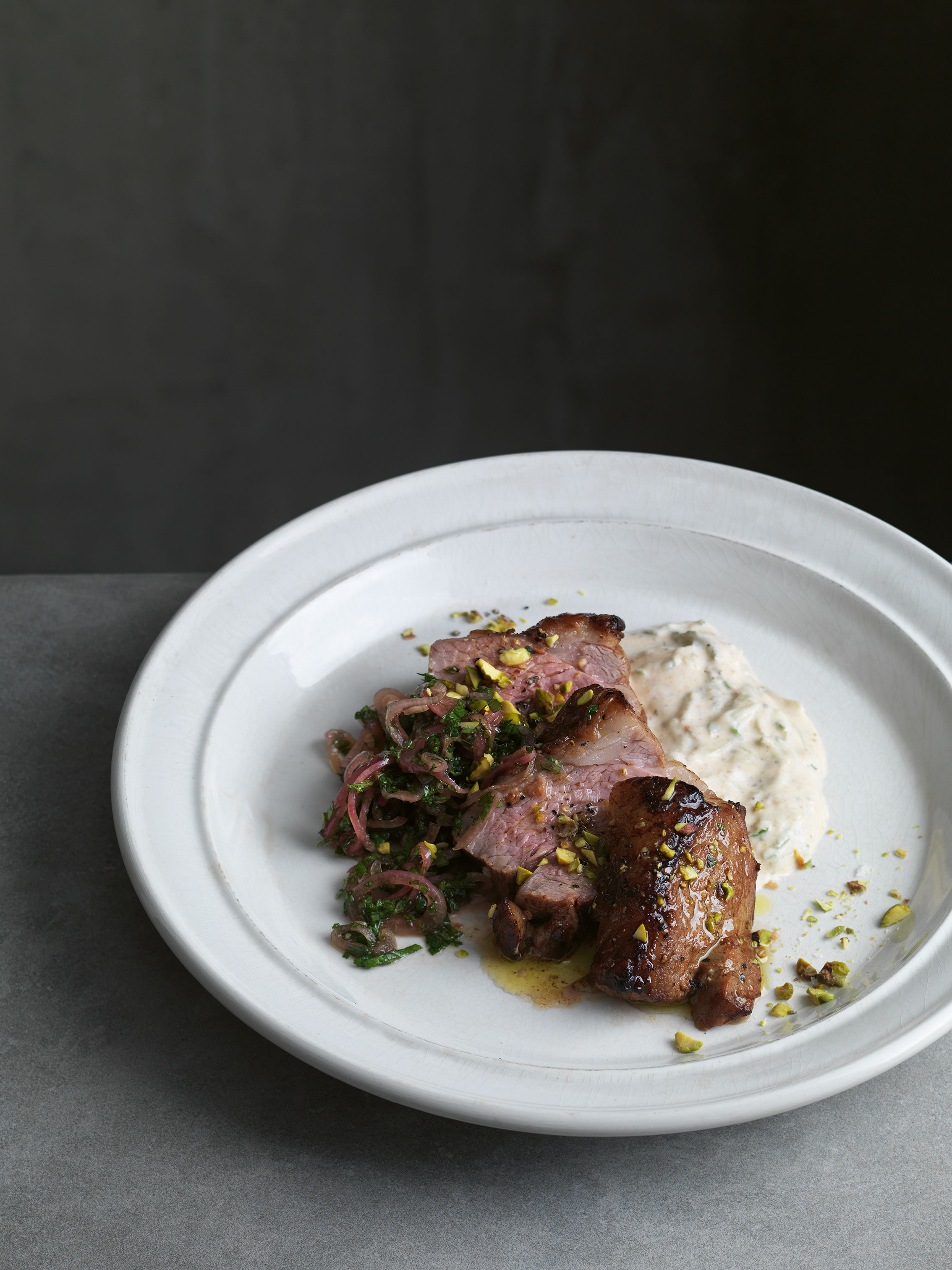 Photo of lamb rump from New Classics by Marcus Wareing.  PA Photo/Jonathan Gregson.