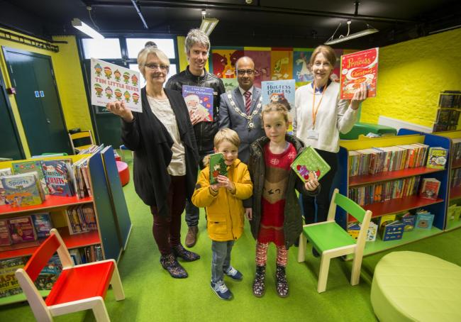 Janine Howarth and Fred Blunt, deputy mayor Junab Ali and librarian Deborah Lamb with Bonnie and Sonny Blunt at the re-opening of Old Town library's children's section
