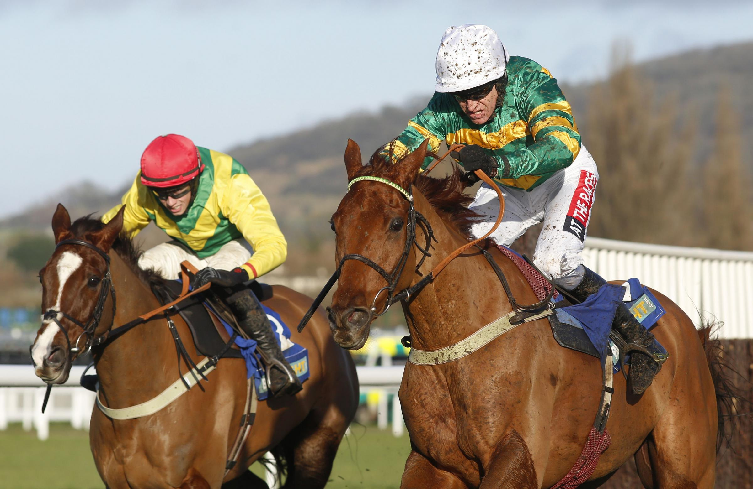 Yanworth and Barry Geraghty lead Sizing Tennessee and Bryan Cooper over the last fence before going on to win The BetBright Dipper Novices' Chase at Cheltenham