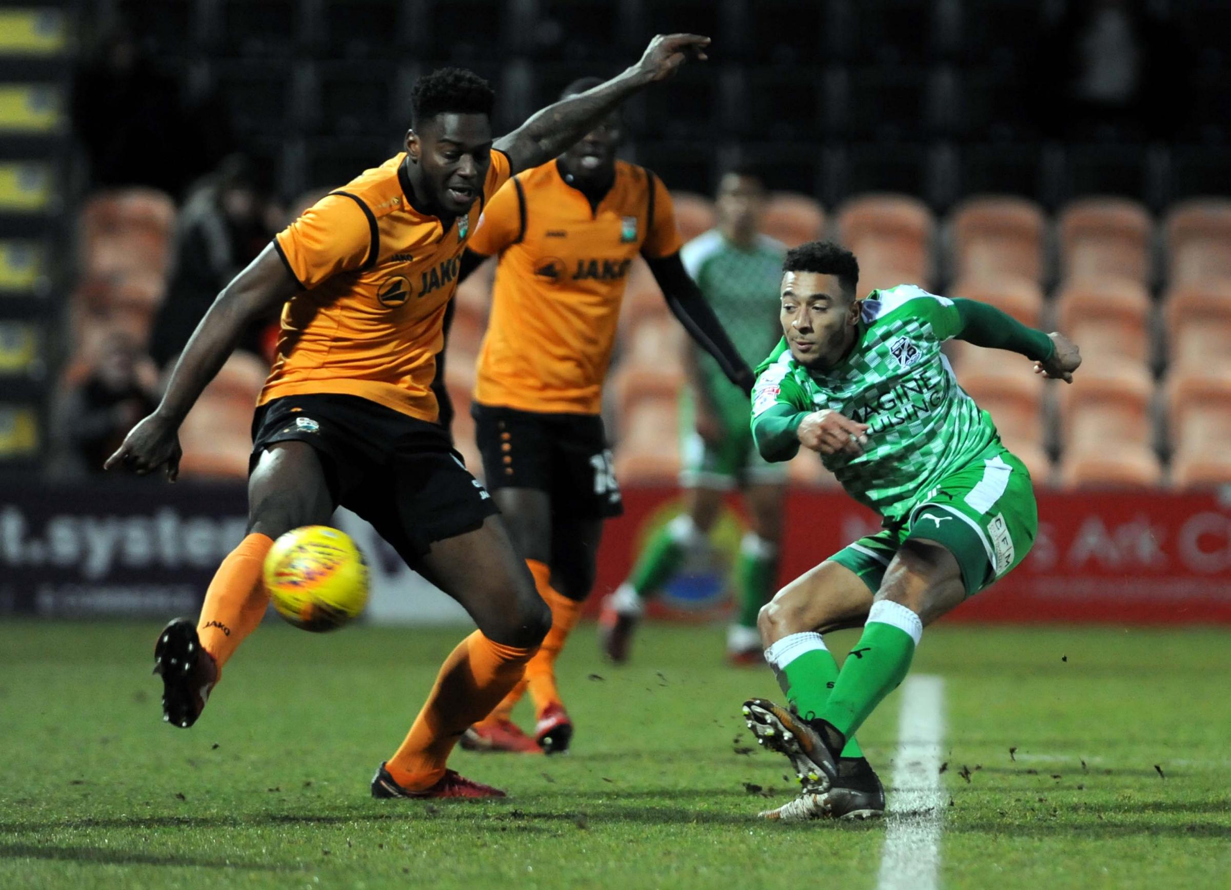 Keshi Anderson fires golwards during this afternoon's win at Barnet (Picture: DAVE EVANS)