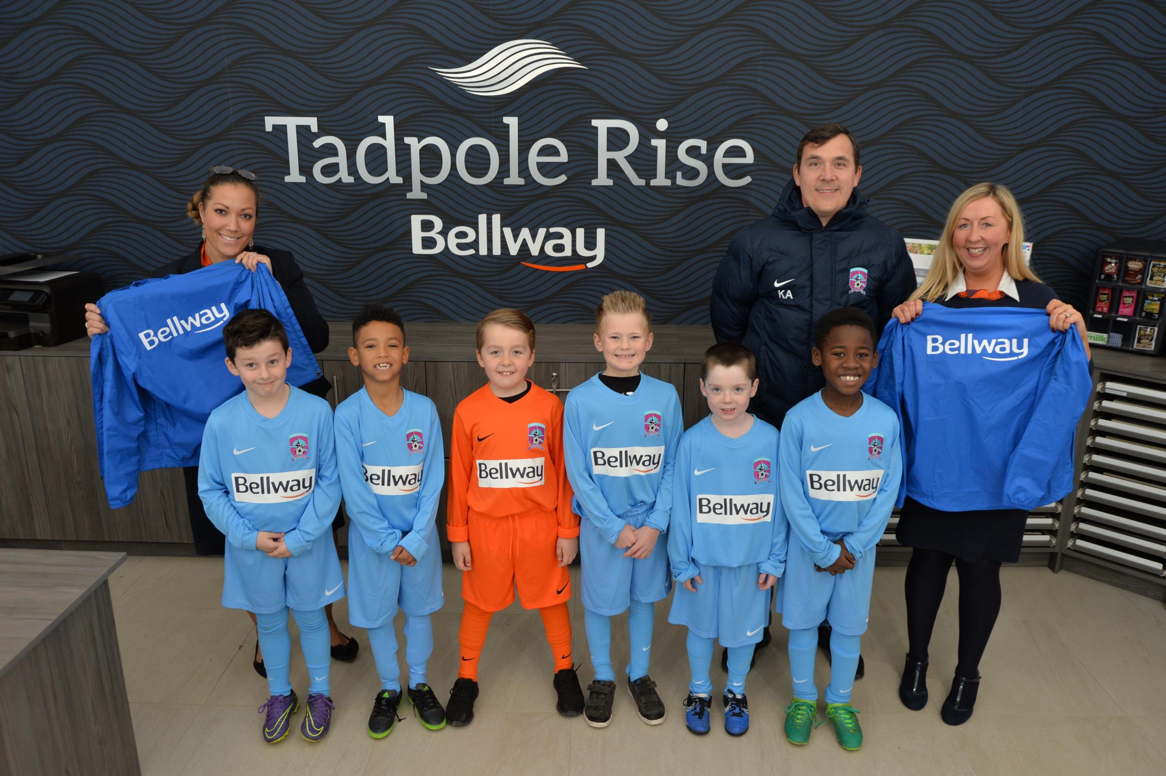 Bellway sales advisors Christal Hawkins and Lydia Johnson with Rangers coach Keith Angell, Archie Angell, Jack Wollington, Rylee Knox, Asaiah Brown, Dylan Collins and Gabby Zumaro
