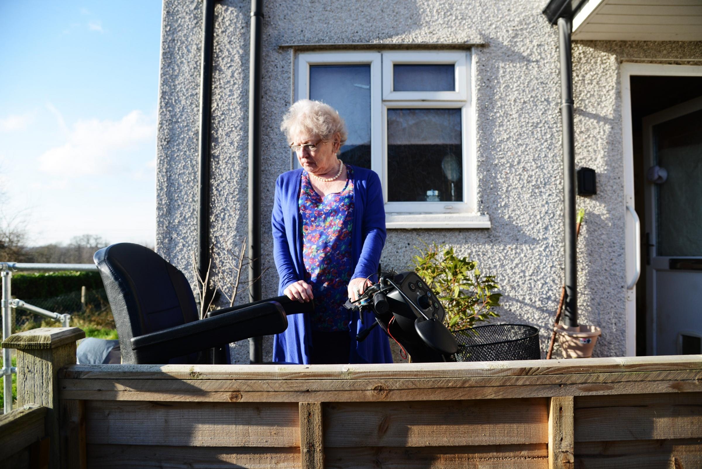 78-year-old Gillian James wants to warn other vulnerable elderly people after her mobility scooter was taken from outside her front door and trashed on Saturday. Pictured Gillian James..30/01/18 Thomas kelsey.