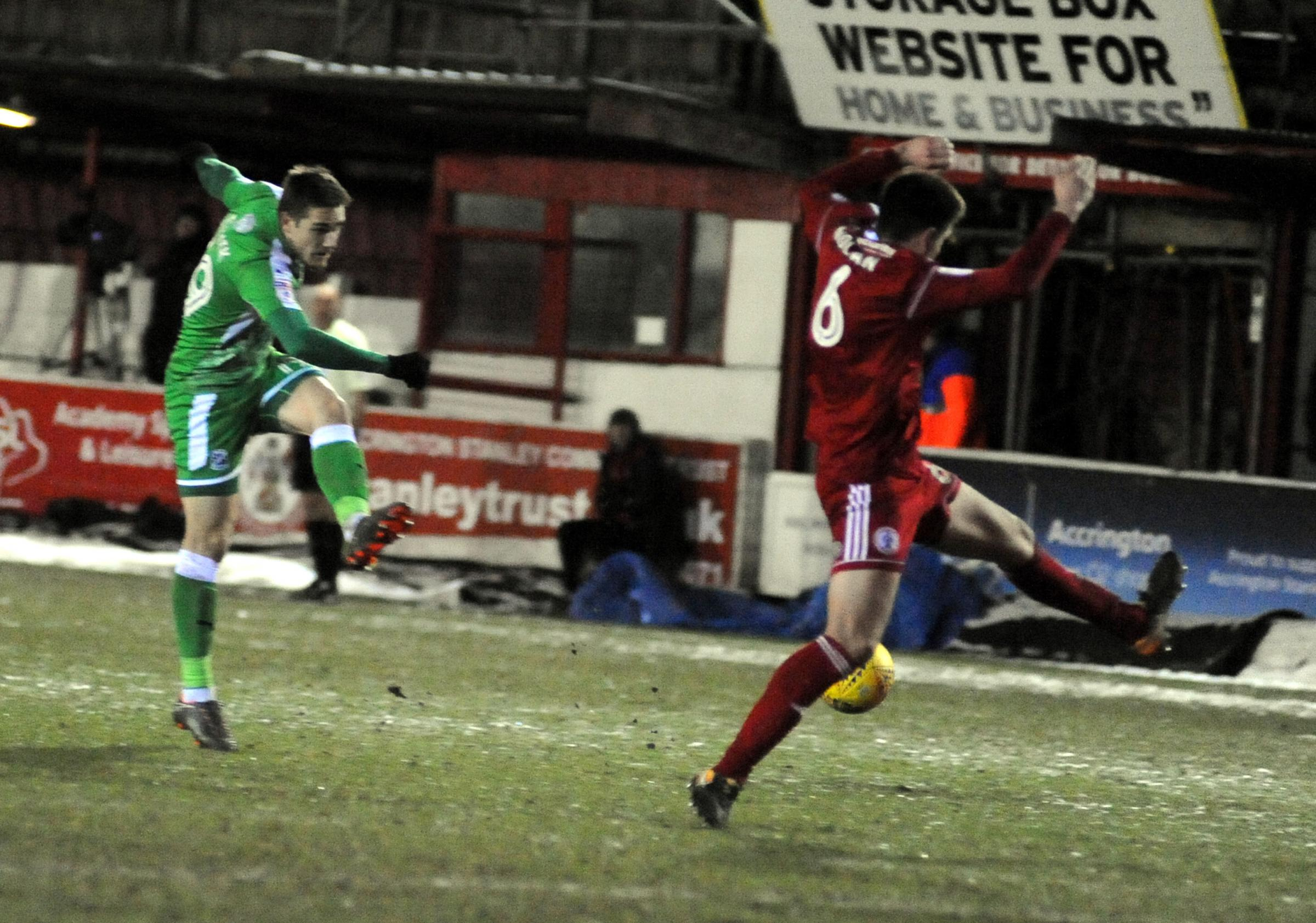 Timi Elsnik tries his luck at Accrington (Picture: DAVE EVANS)