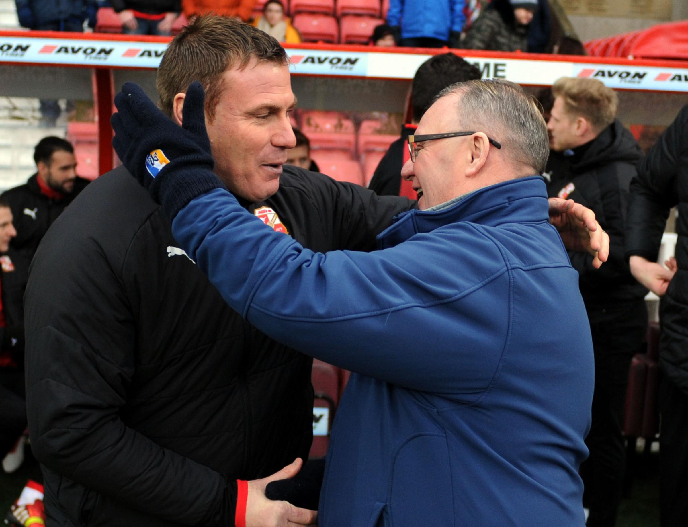 STFC v Mansfield            Pic Dave Evans      10.02.18.Rival bosses meet before kick off..