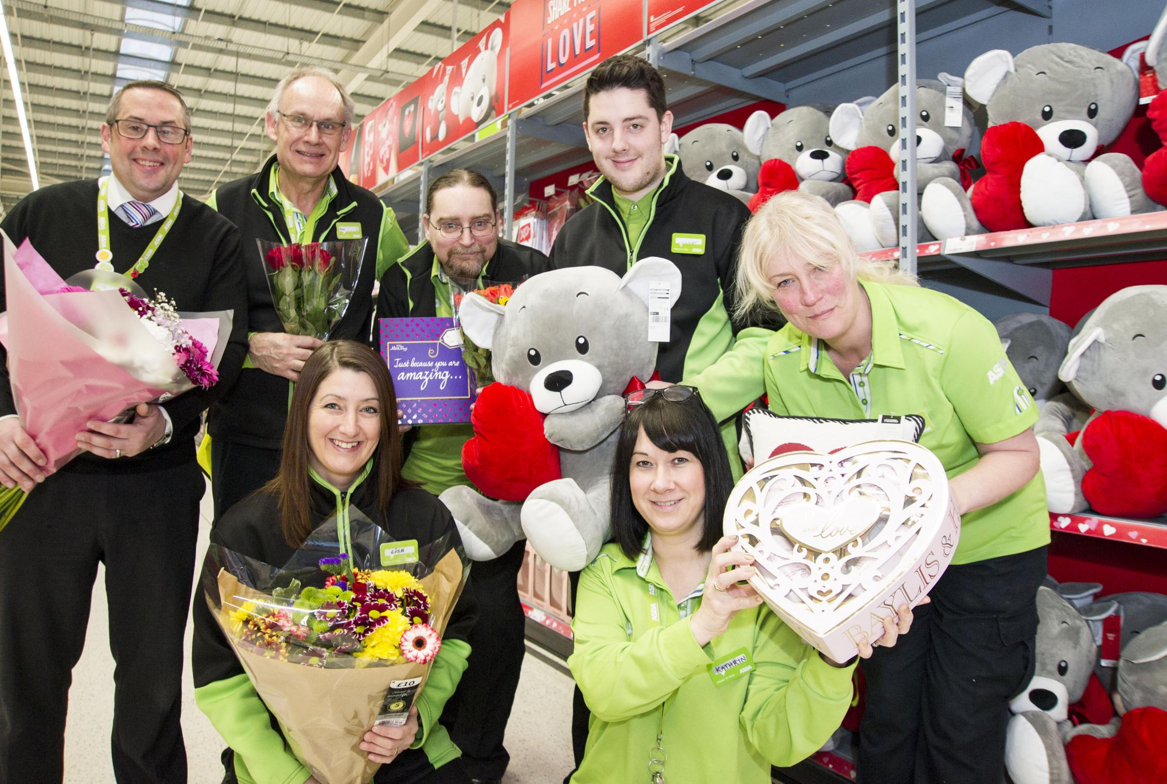 Valentines appeal at the Orbital Centre, Asda Swindon Haydon is playing cupid, with a search for the longest married couples in the area and couples who have found love in the store. .left 2 right .Pic - Colin Davies ( DGSM ), Peter Twynn, Lisa Davey, Jam