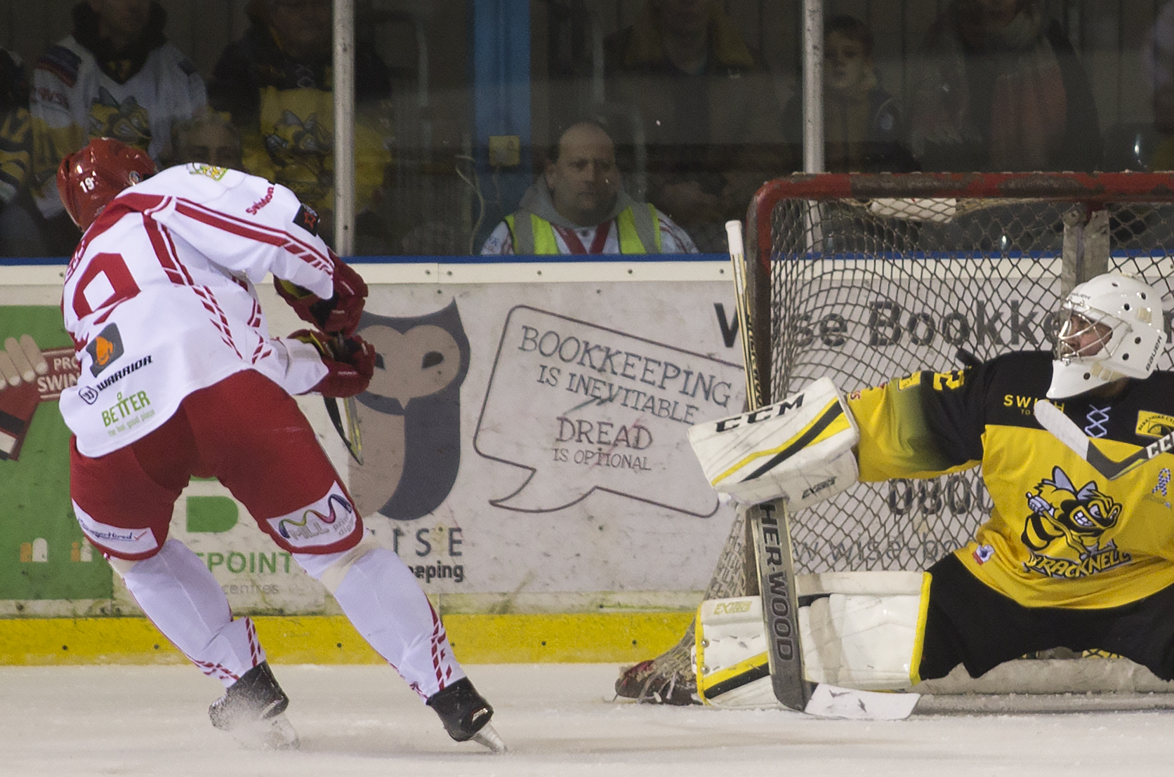 Aaron Nell scores one of Swindon Wildcats' six goals against Bracknell Bees. PICTURE: RYAN AINSCOW