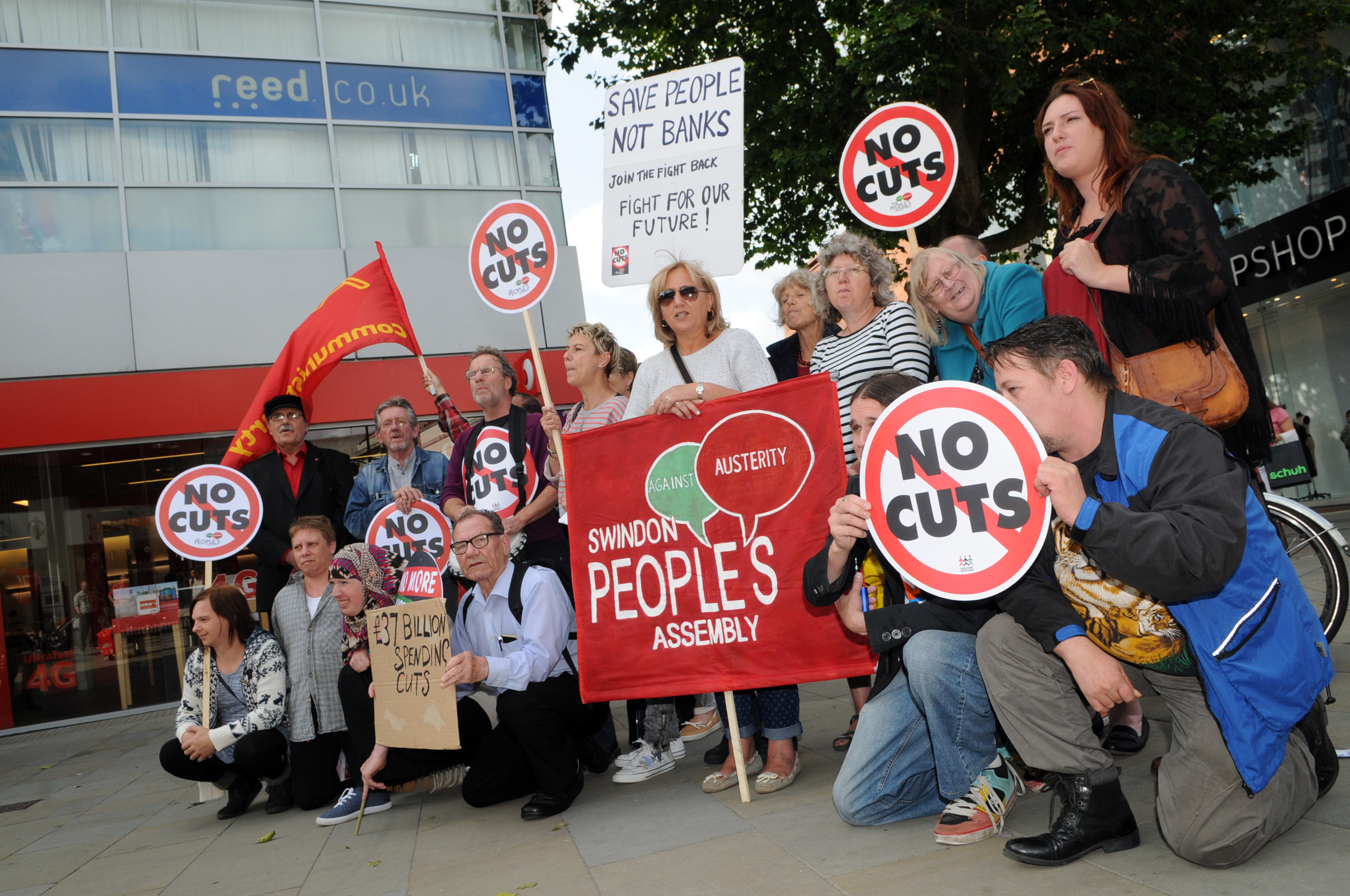 A Swindon People's Assembly protest in the town centre