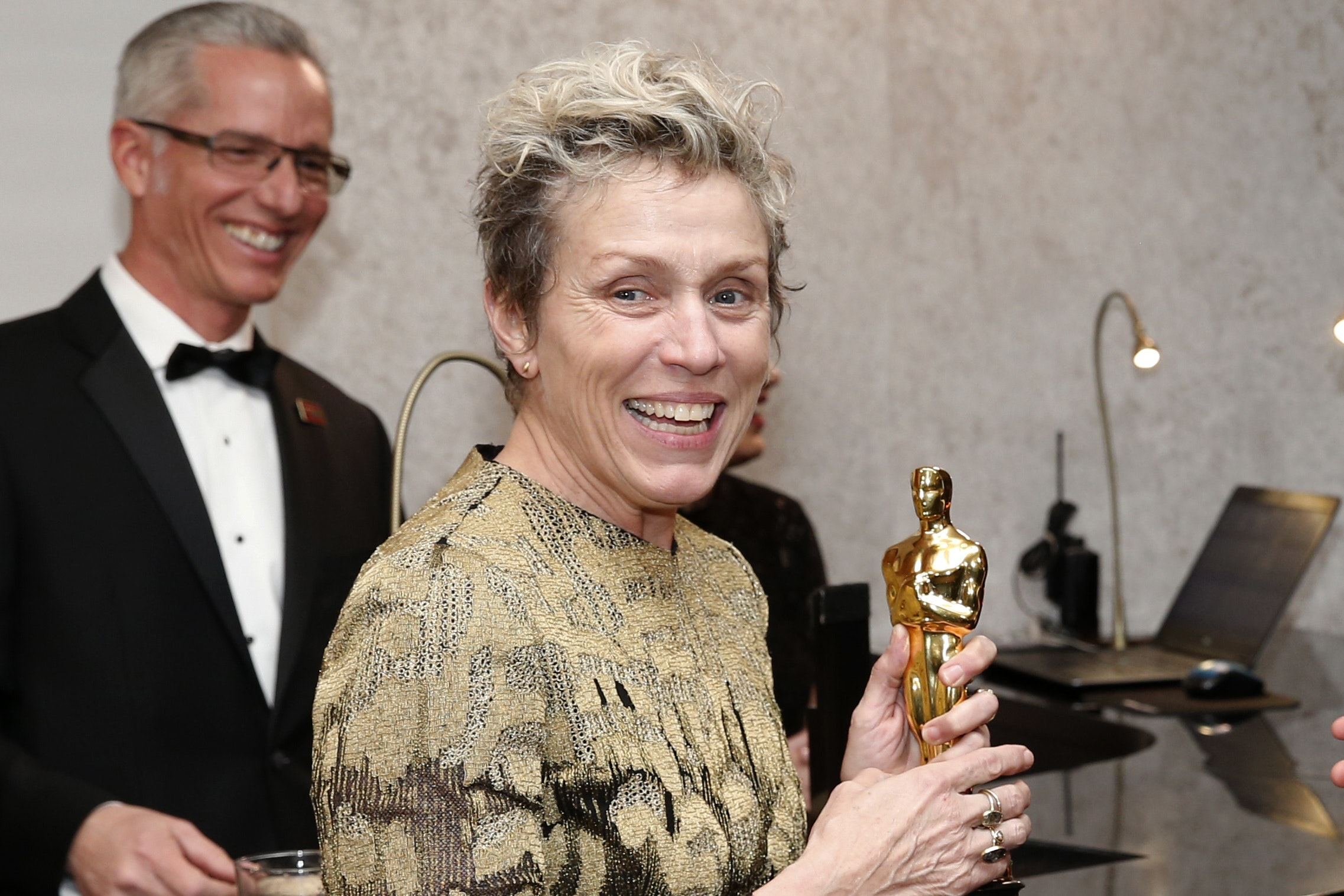 Frances McDormand with her Oscar (Eric Jamison/AP)
