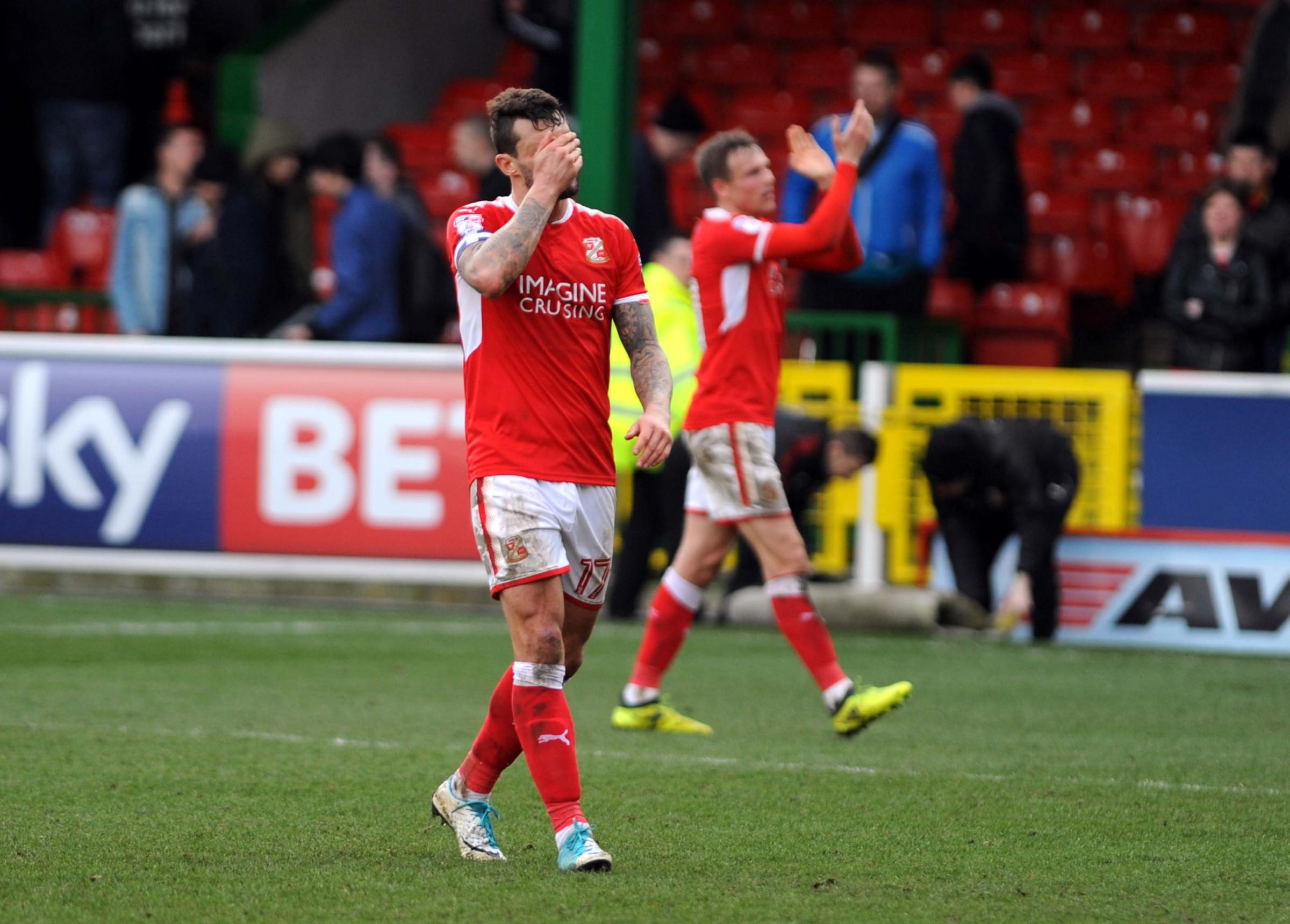 Marc Richards shows the strain after Swindon Town's home defeat to Cheltenham Town. PICTURE: DAVE EVANS