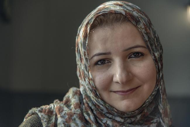 Khulood Mamkalo fled Syria 18 months ago for Britain. In Aleppo she was a successful optician. Pictured Khulood Mamkalo..18/02/18 Thomas Kelsey.