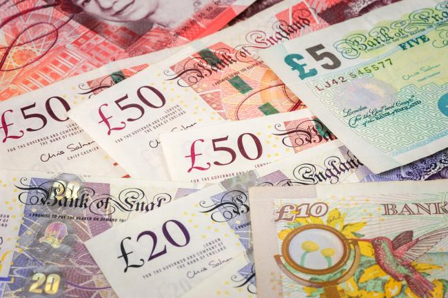 closeup Banknotes of the pound sterling